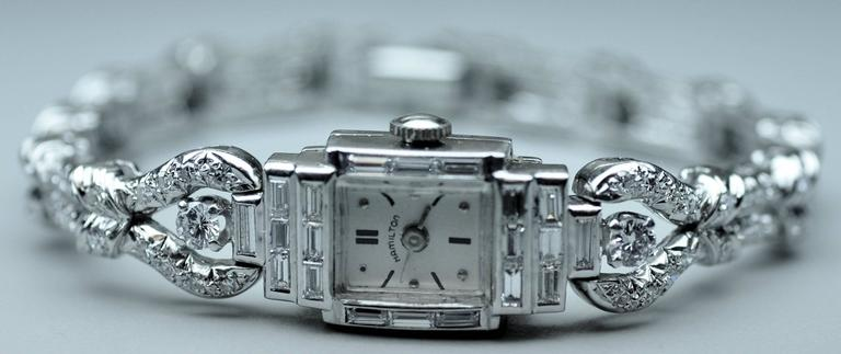 Oscar Heyman Hamilton Platinum Diamond Quartz Wristwatch 2