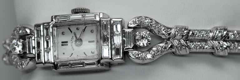 Oscar Heyman Hamilton Platinum Diamond Quartz Wristwatch 3