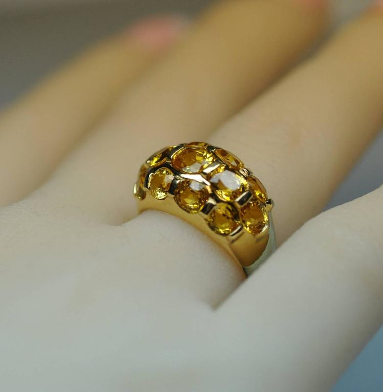 Italian Yellow Sapphire Gold Dome Ring  In Excellent Condition For Sale In Dallas, TX