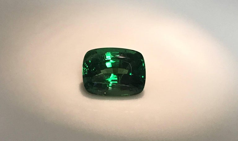 Fine, rich green, brilliant Tsavorite garnet, from Tsavo Park region of Kenya.  This stone dates from the 1970's and is currently difficult to find.  Has been repolished to removed all small nicks and abrasions.  The color is very fine, no black or