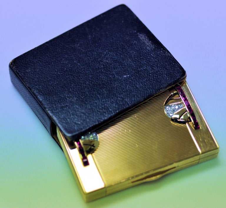 Art Deco Tiffany Gold and Platinum Ruby and Diamond Compact with Leather Sleeve For Sale 1