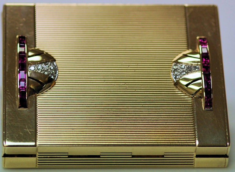 Art Deco Tiffany Gold and Platinum Ruby and Diamond Compact with Leather Sleeve For Sale 2