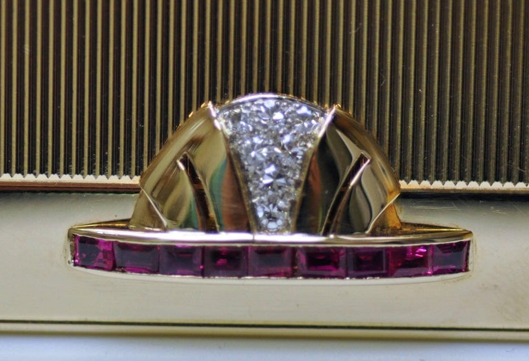 Art Deco Tiffany Gold and Platinum Ruby and Diamond Compact with Leather Sleeve For Sale 3