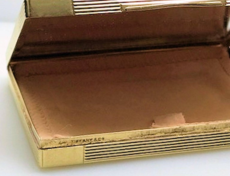 Art Deco Tiffany Gold and Platinum Ruby and Diamond Compact with Leather Sleeve For Sale 4