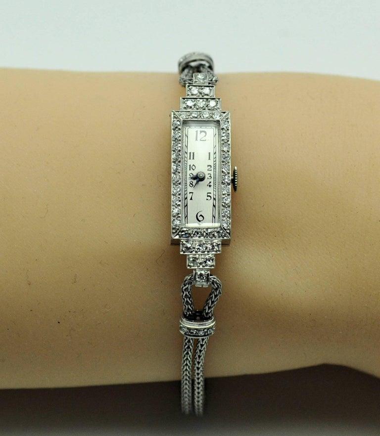 ladies Platinum Diamond Baguette Style Wristwatch In Excellent Condition For Sale In Dallas, TX
