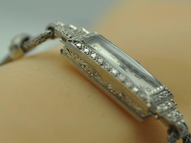 Women's ladies Platinum Diamond Baguette Style Wristwatch For Sale