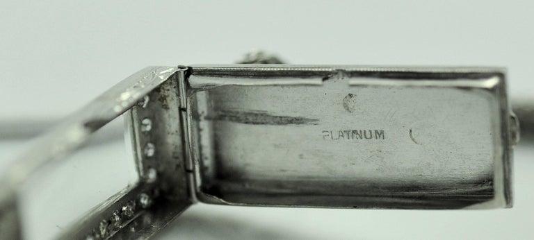 ladies Platinum Diamond Baguette Style Wristwatch For Sale 2