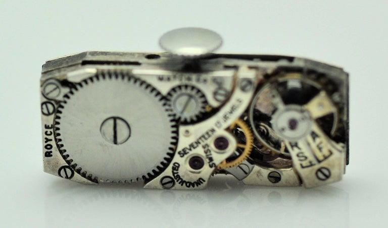 ladies Platinum Diamond Baguette Style Wristwatch For Sale 3