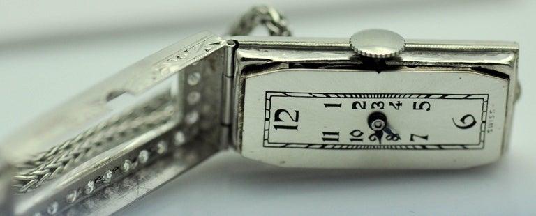 ladies Platinum Diamond Baguette Style Wristwatch For Sale 4