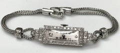 ladies Platinum Diamond Baguette Style Wristwatch