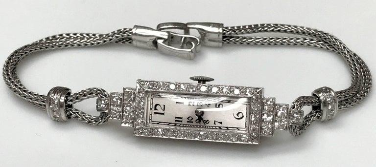 ladies Platinum Diamond Baguette Style Wristwatch For Sale