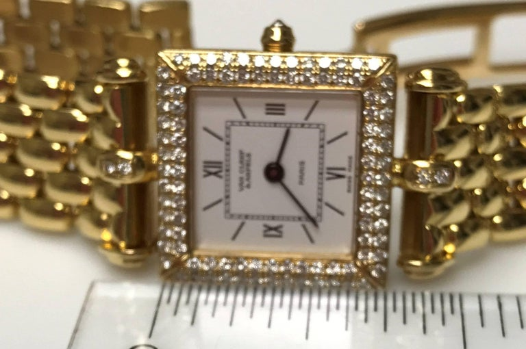 Van Cleef & Arpels Ladies Yellow Gold Diamond Classique Quartz Wristwatch In Excellent Condition For Sale In Dallas, TX