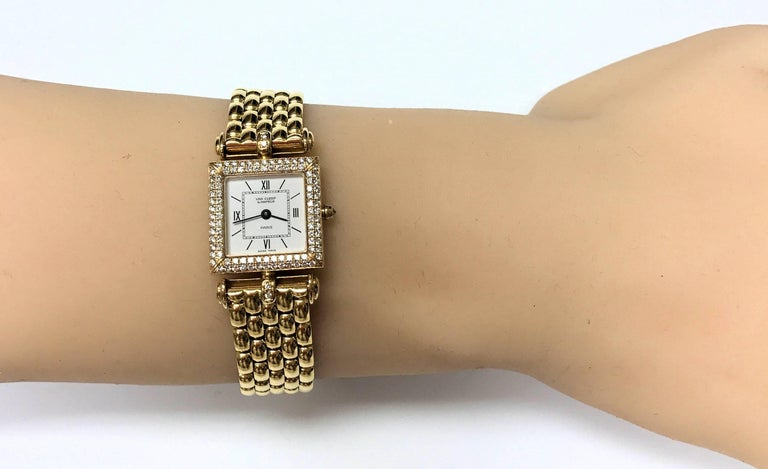 Van Cleef & Arpels Ladies Yellow Gold Diamond Classique Quartz Wristwatch For Sale 2