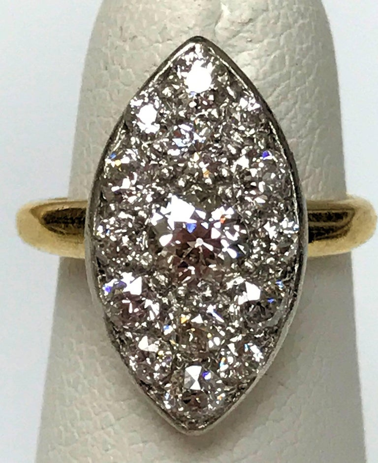 Antique Edwardian Tiffany Diamond Platinum Gold Ring 2