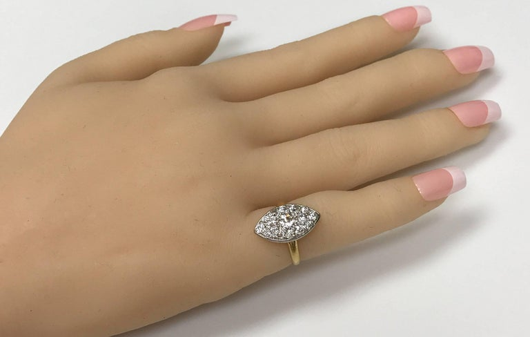 Women's Antique Edwardian Tiffany Diamond Platinum Gold Ring For Sale