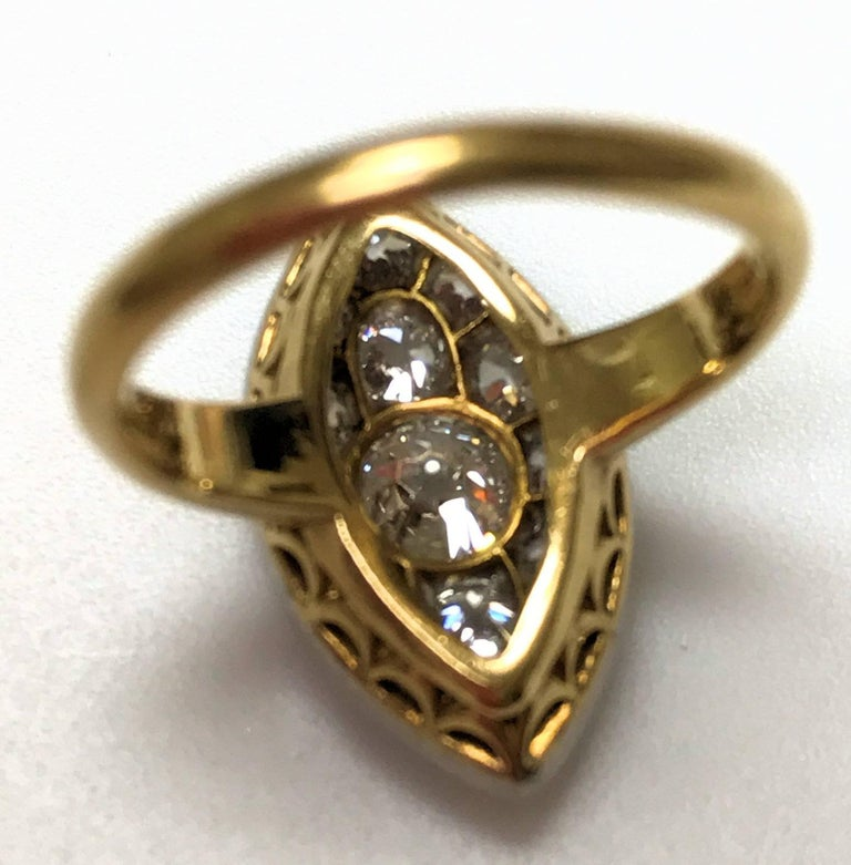 Antique Edwardian Tiffany Diamond Platinum Gold Ring 9