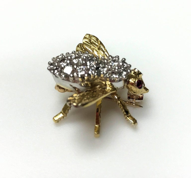 Herbert Rosenthal 18 Karat Diamond and Ruby Bee Pin For Sale 3