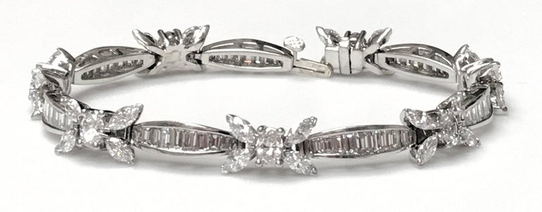 Elegant Platinum Diamond Bracelet, Marquis, Oval and Baguette over 12 Carat 6