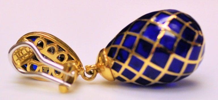 Women's 18 Karat Yellow Gold, Cobalt Blue Enamel and Diamond Pendant Drop Earrings For Sale