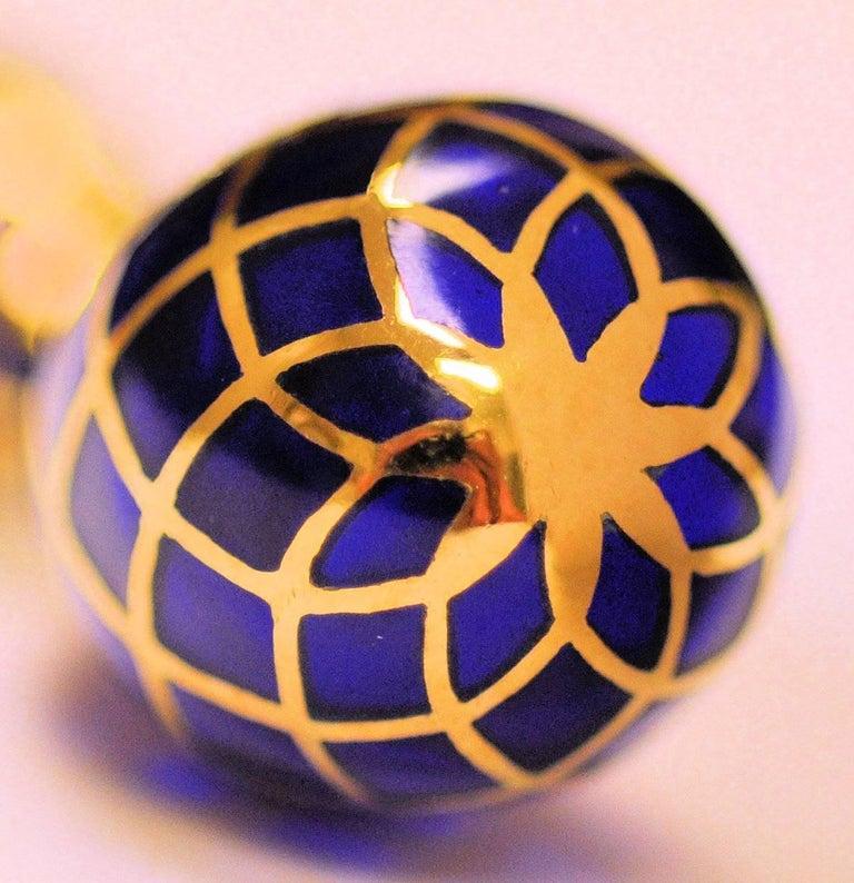 18 Karat Yellow Gold, Cobalt Blue Enamel and Diamond Pendant Drop Earrings For Sale 1