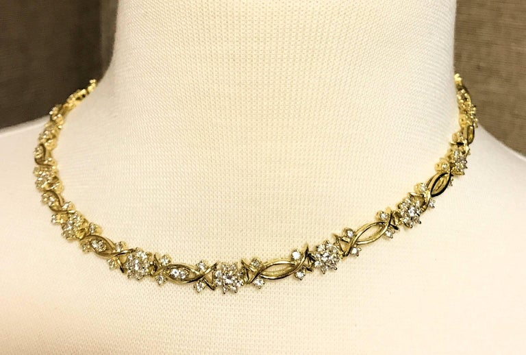 Yellow Gold and Diamond Necklace, Fleurette Design For Sale 2