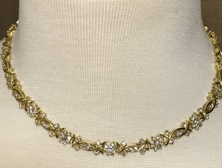 Yellow Gold and Diamond Necklace, Fleurette Design For Sale 3