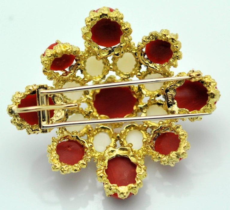 Oval Cut 18 Karat Gold, Coral and Diamond Brooch-Pendant For Sale