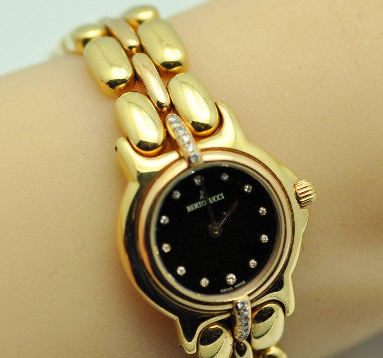 Modern Bertolucci Ladies Yellow and Rose Gold Diamond Black Dial Wristwatch  For Sale