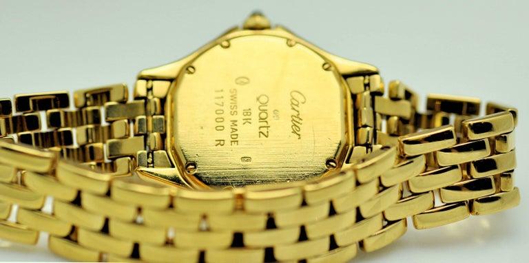 Cartier Ladies Yellow Gold Cougar Quartz Wristwatch In Excellent Condition For Sale In Dallas, TX