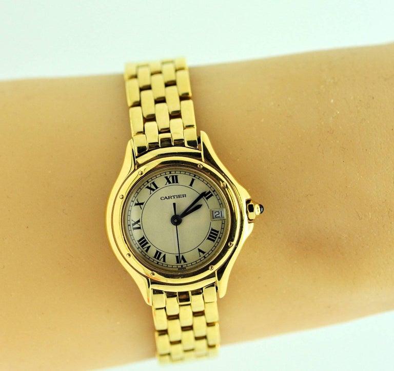 Women's Cartier Ladies Yellow Gold Cougar Quartz Wristwatch For Sale