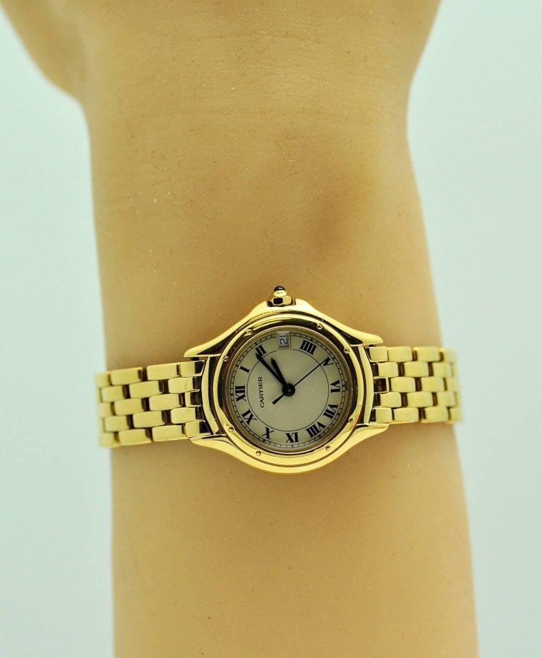Cartier Ladies Yellow Gold Cougar Quartz Wristwatch For Sale 1