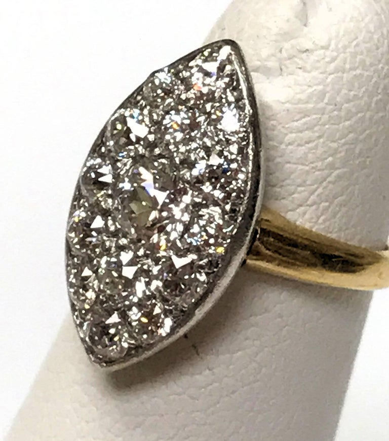 Old European Cut Antique Edwardian Tiffany & Co. Diamond Platinum Gold Ring For Sale