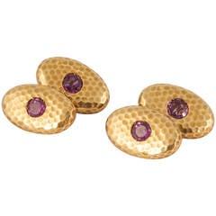 1920s Austrian Pink Tourmaline Gold Cufflinks