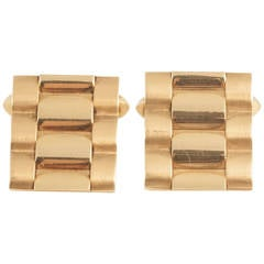 Kutchinsky Gold Cufflinks of Rolex Bracelet Design