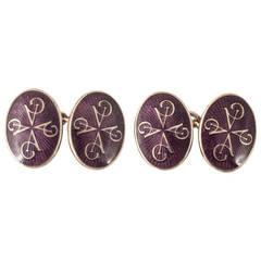 Purple Enamel and Silver Asprey and Co. Cufflinks