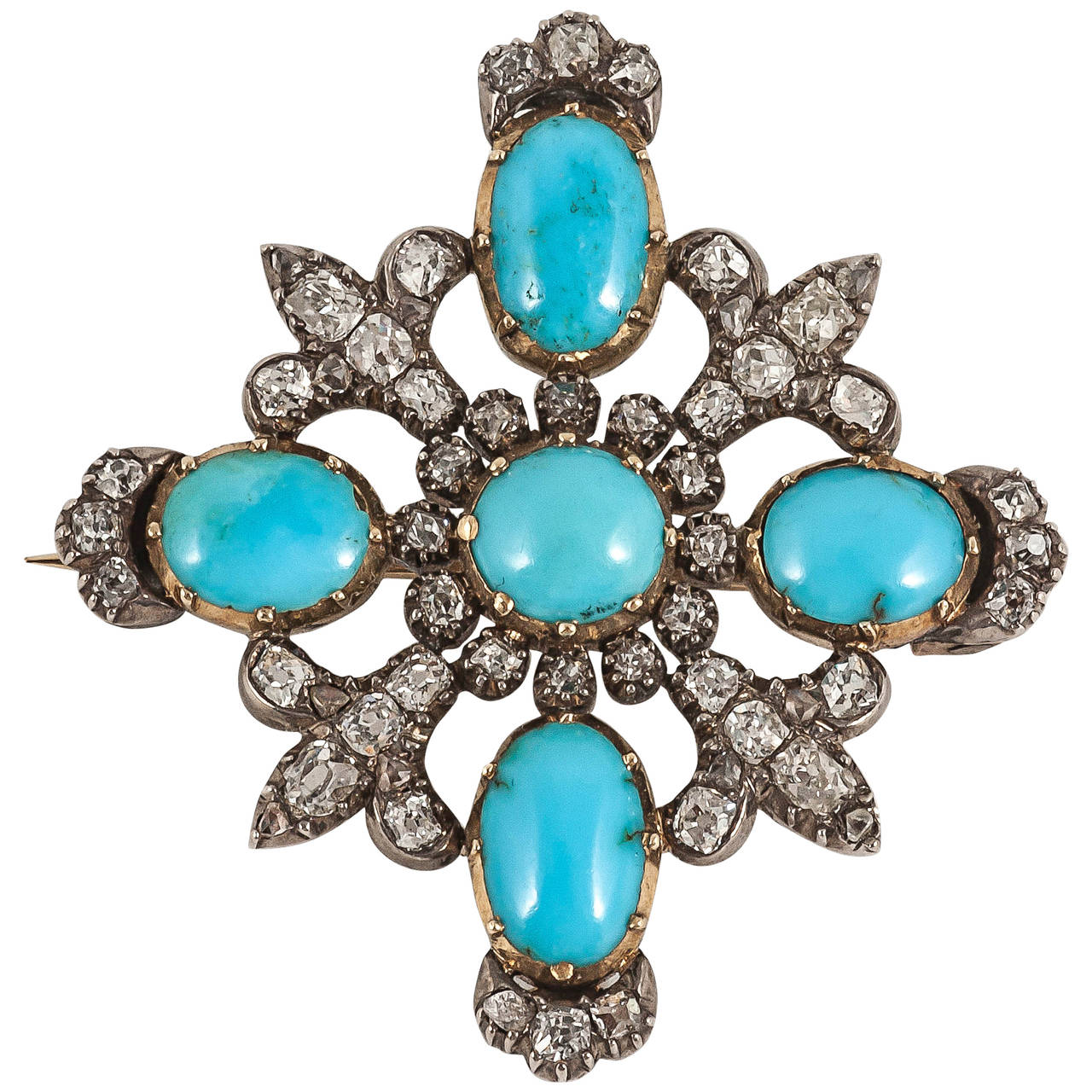 19th century turquoise and diamond brooch 1
