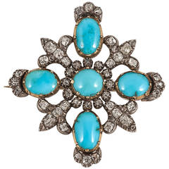19th Century Turquoise and Diamond Brooch