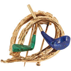 Chaumet of Paris gold,lapis,malachite golfing brooch