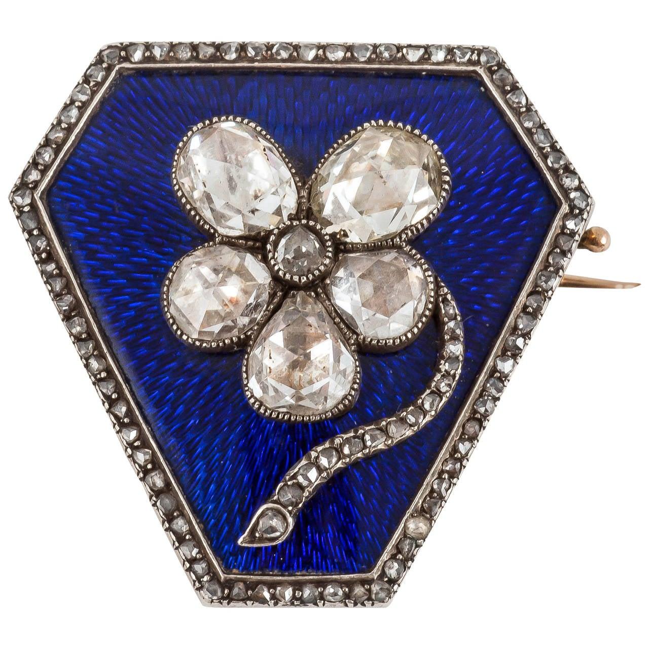 Old Russian enamel and rose cut diamond brooch