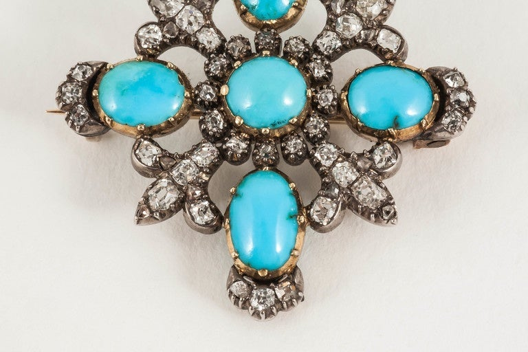 19th century turquoise and diamond brooch 2