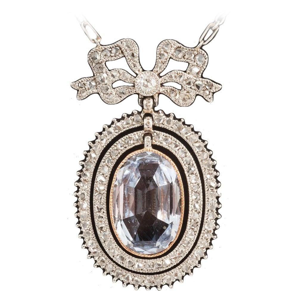Edwardian Natural Sapphire diamond pendant For Sale
