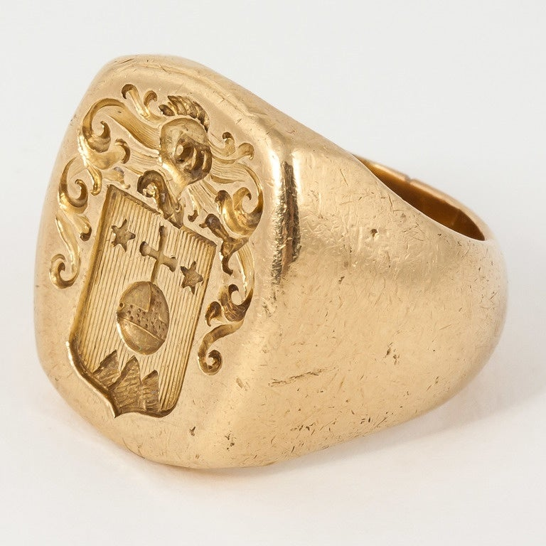 engraved gold signet ring at 1stdibs