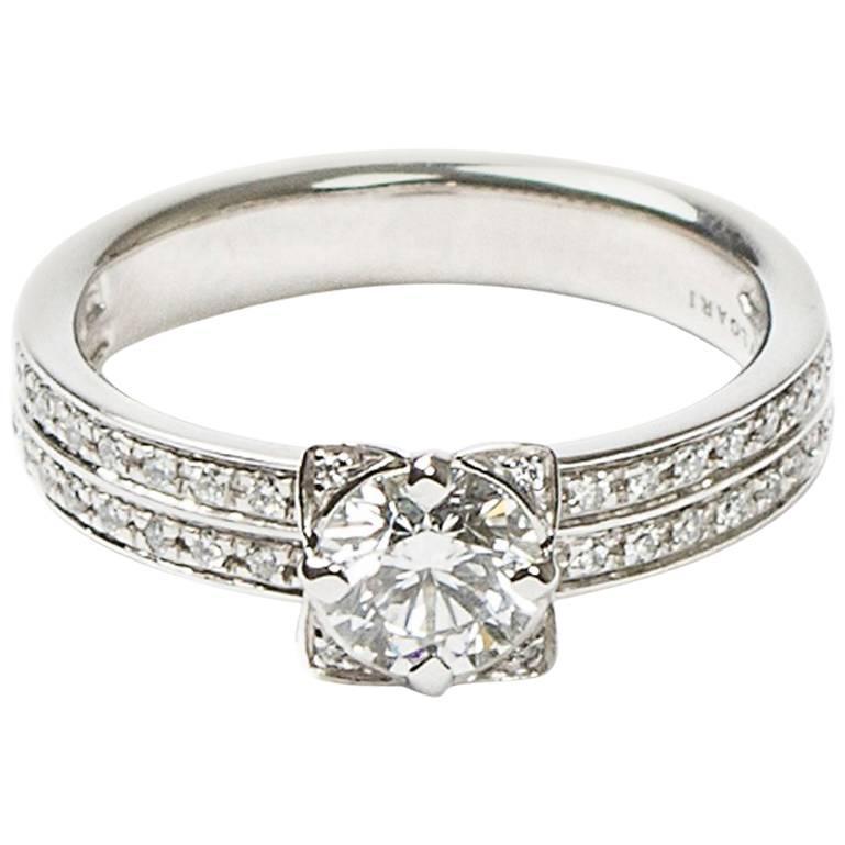 bulgari pave diamonds platinum solitaire ring