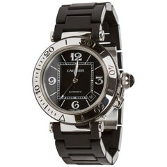 Cartier Stainless Steel Black Dial Pasha Seatimer Date Automatic Wristwatch
