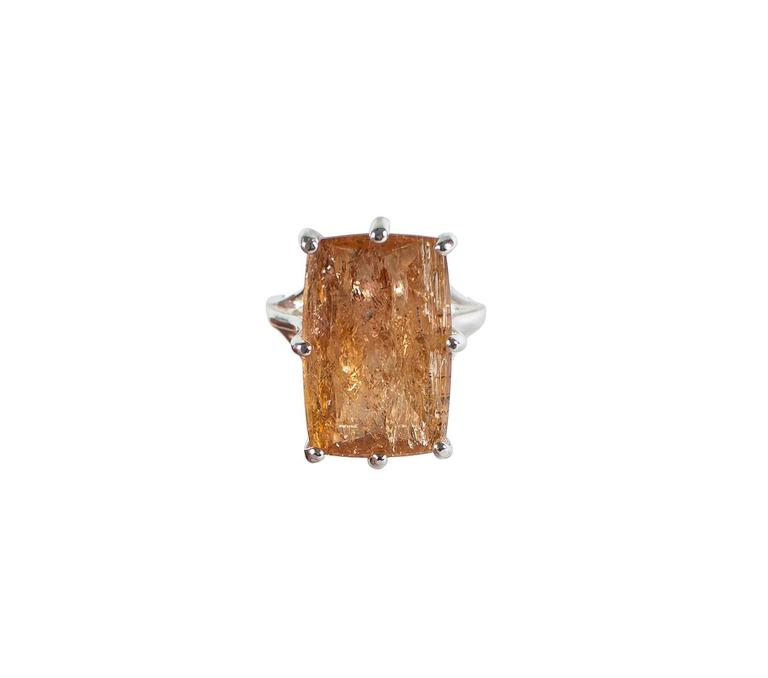 Peach-Orange Rectangular Imperial Topaz in Sterling Silver Ring For Sale 1