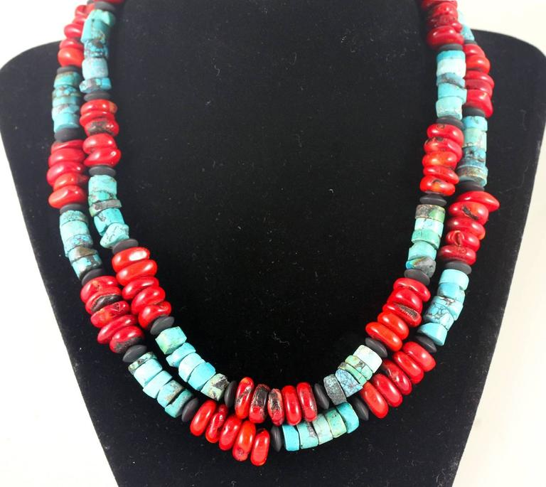 Handmade Turquoise and Coral Necklace In New Condition For Sale In TUXEDO PARK, NY