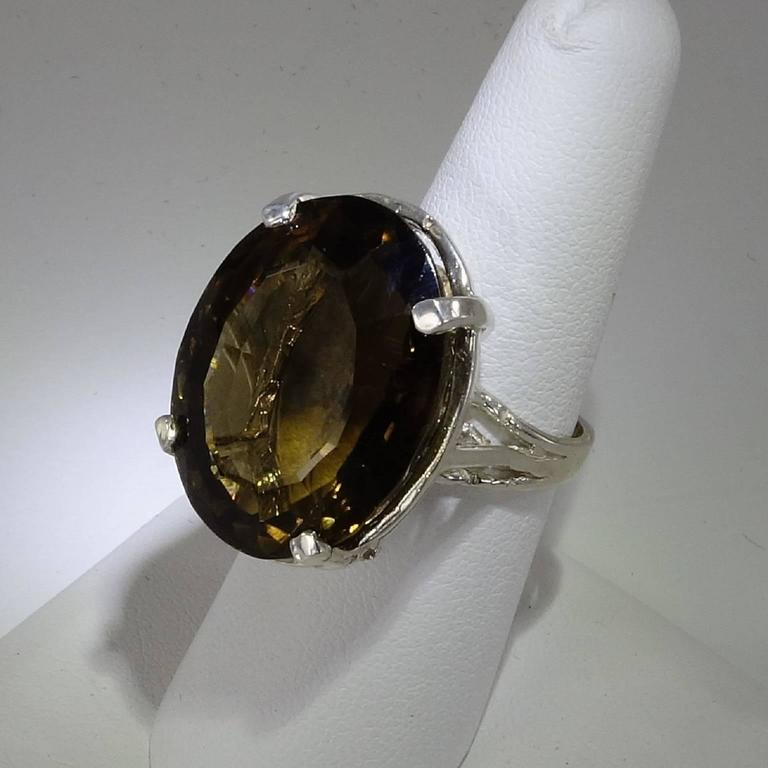 smoky quartz and sterling silver cocktail ring for sale at