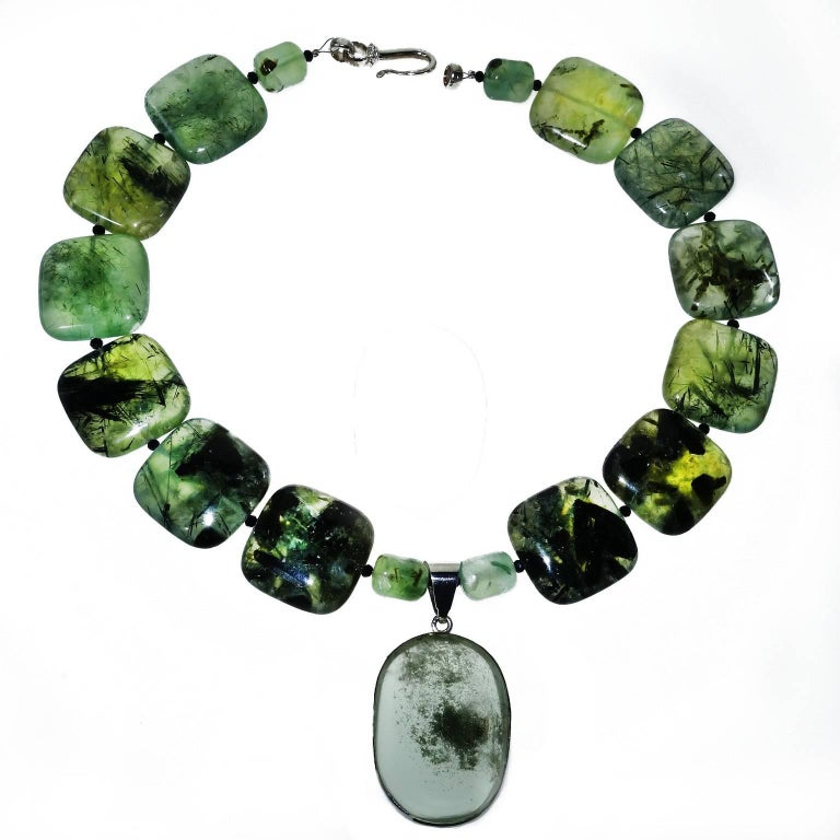 Green Prehnite Necklace with Lodalite Pendant in Sterling Silver