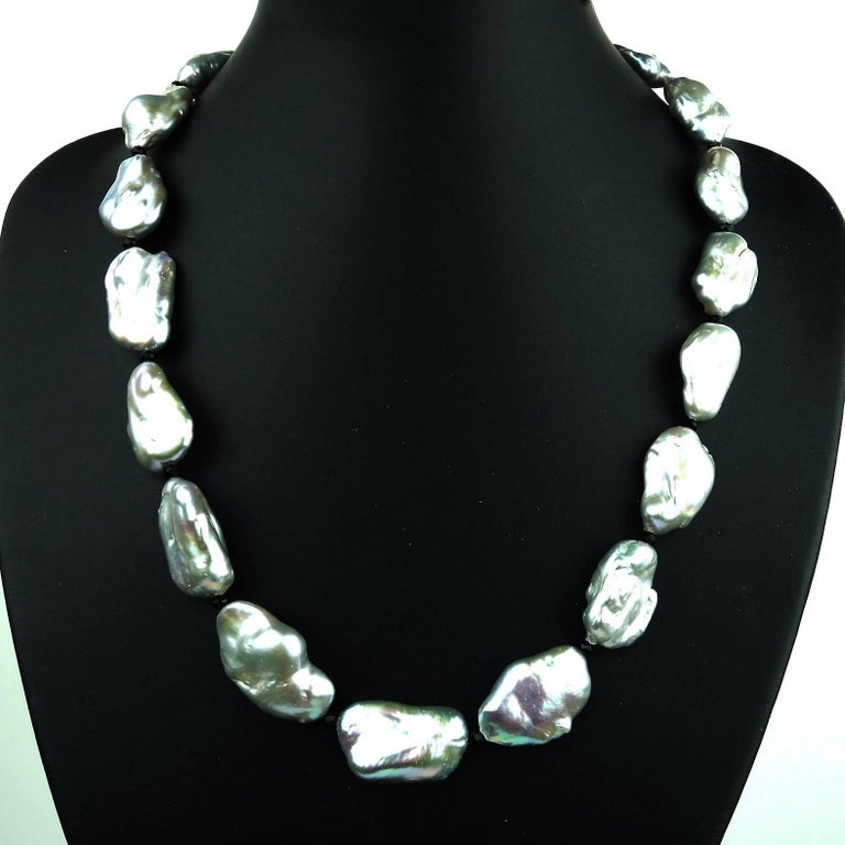 Iridescent Silvery Baroque Pearl Necklace For Sale 2
