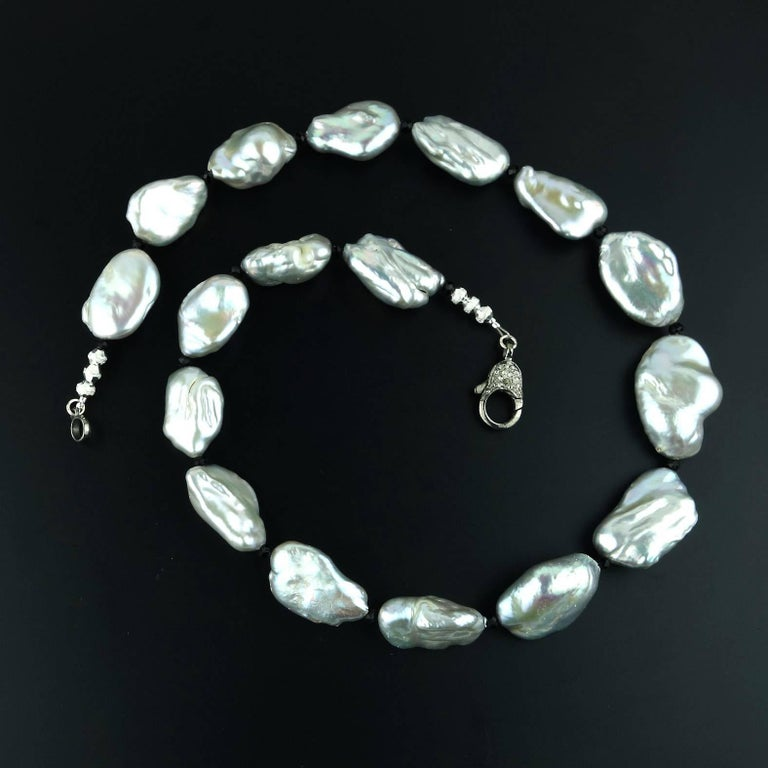 Women's Iridescent Silvery Baroque Pearl Necklace For Sale